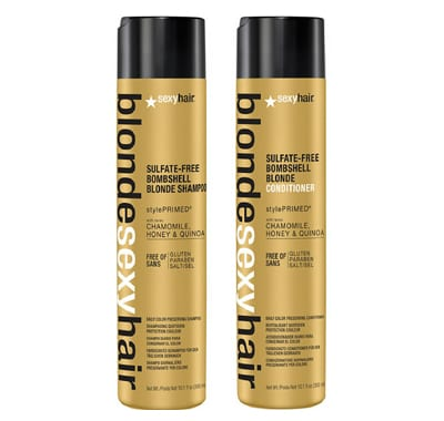 Sexy Hair Sulfate Free Bombshell Blonde Shampoo 300ml & Conditioner 300ml Duo