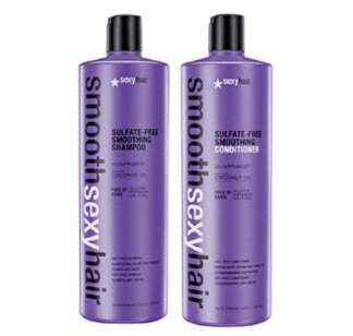 Sexy Hair Sulfate Free Smoothing Shampoo 1000ml & Conditioner 1000ml Duo