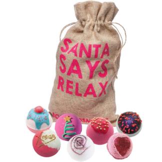 Bomb Cosmetics Santa Says Relax Handmade Hessian Sack Bath Blaster Gift Pack